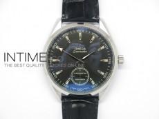 Aqua Terra XXL SS Black Textured Dial On Black leater Unitas 6498