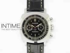 PAM520 Black Dial on Leather Strap Asian Manual Winding Chronograph Movement