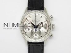 El Primero Chrono SS White Dial on Black Leather Strap A7750
