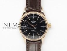 Cellini 50505 BP Maker RG Black Dial on Black Leather Strap A2824