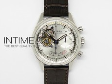 El Primero SS AXF Silver Dial on Black Leather Strap Asian Manual Winding Chronograph Movement