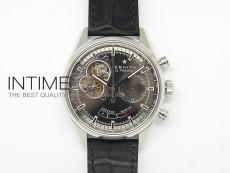 El Primero SS AXF Black Dial on Black Leather Strap Asian Manual Winding Chronograph Movement