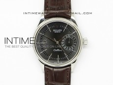 Cellini Date BP Maker SS Black Dial on Brown Leather Strap A2824