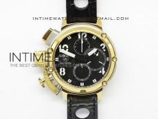 U-51 Chimera Watch Limited Edition SS/YG Black Dial on Black Leather Strap A7750