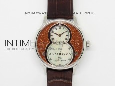 Jaquet Droz SS Case White MOP dial on brown leather
