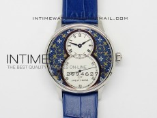 Jaquet Droz SS Case White dial Blue Flowers on blue leather