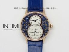 Jaquet Droz RG Case White Dial Blue Flowers on blue leather