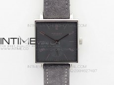 Nomos Tangente Square SS Case Gray Dial On Gray leather Asian A2813