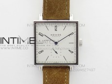 Nomos Tangente Square SS Case White Dial On Brown leather Asian A2813