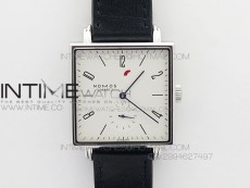 Nomos Tangente Square SS Case White Dial Blue Hands On Black leather Asian A2813