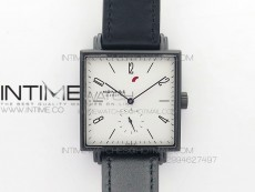 Nomos Tangente Square PVD Case White Dial Blue handset On Black leather Asian A2813