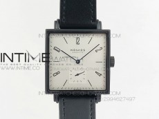 Nomos Tangente Square PVD Case White Dial On Black leather Asian A2813