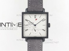 Nomos Tangente Square PVD Case White Dial Blue handset On Gray leather Asian A2813