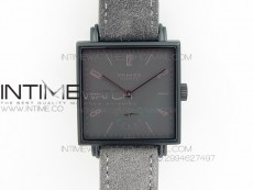 Nomos Tangente Square PVD Case Gray Dial On Gray leather Asian A2813
