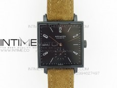 Nomos Tangente Square PVD Case Black Dial On Brown leather Asian A2813