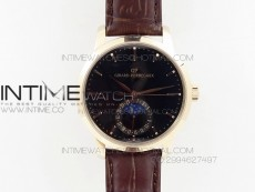 GP moonphase RG Black Dial on Brown Leather Strap On Cal.GP033MO