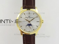 GP moonphase YG Sliver Dial on Brown Leather Strap On Cal.GP033MO