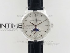 GP moonphase SS Sliver Dial on Black Leather Strap On Cal.GP033MO