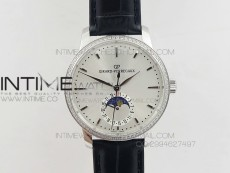 GP moonphase SS Sliver Dial Diamond Bezel on Black Leather Strap On Cal.GP033MO