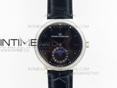 GP moonphase SS Black Dial Diamond Bezel on Black Leather Strap On Cal.GP033MO