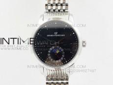 GP moonphase Smooth/Diamond Bezel on SS Bracelet On Cal.GP033MO