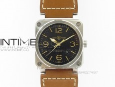 BR 03-92 Golden Heritage SS Black Dial on Brown Leather Strap MIYOTA 9015