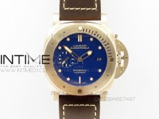 PAM671 T Real Bronzo ZF Best Edition Blue dial on Dark Brown Asso Strap P.9010 Super Clone