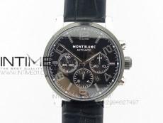 MONTBLANC TIMEWALKER CHRONO SS/Ceramic BLACK On Leather Strap A7750