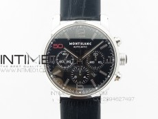 MONTBLANC TIMEWALKER CHRONO SS BLACK WITH 3 SUB-DIALS Red 50 On Leather Strap