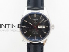 Carrera Day-Date Automatic SS Black Dial on Black Leather Strap A2824