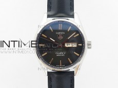 Carrera Day-Date Automatic SS Black Dial RG Markers on Black Leather Strap A2824