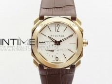 OCTO 12028 RG JL Best Edition White dial On Black Leather Strap A2824