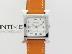 Heure H Ladies SS MKF 1:1 Best Edition White Dial On Orange Leather Strap Swiss Quartz