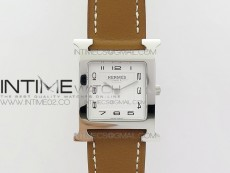 Heure H Ladies SS MKF 1:1 Best Edition White Dial On Brown Leather Strap Swiss Quartz