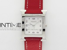 Heure H Ladies SS MKF 1:1 Best Edition White Dial On Red Leather Strap Swiss Quartz
