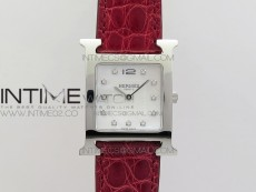 Heure H Ladies SS MKF 1:1 Best Edition White MOP Dial On Red Croco Leather Strap Swiss Quartz