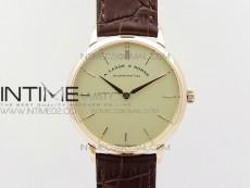 Saxonia Thin 211.026 RG Cream White dial on Brown Leather Strap MIYOTA 9015