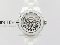 J12 38mm KOR 1:1 Best Edition White Korea Ceramic White Dial Silver Numeral Markers on Bracelet A2892