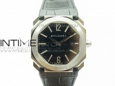 OCTO SS JL 1:1 Best Edition Black dial On Black Leather Strap MIYOTA 9015 to BVL193