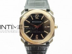 OCTO SS/RG JL 1:1 Best Edition Black dial On Black Leather Strap MIYOTA 9015 to BVL193