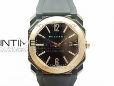 OCTO DLC/RG JL 1:1 Best Edition Black dial RG Markers On Black Leather Strap MIYOTA 9015 to BVL193