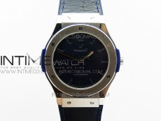 Classic Fusion 45mm SS Berluti Scritto V2 SRF Best Edition Blue Leather Dial On Blue Gummy Strap A2892