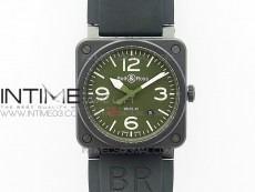 BR 03-92 42.5mm Real Ceramic Case NII 1:1 Best Edition Green Dial on Rubber Strap MIYOTA 9015