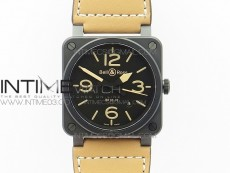 BR 03-92 42.5mm Real Ceramic Case NII 1:1 Best Edition Black Dial on Leather Strap MIYOTA 9015