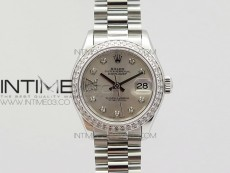 DateJust 28mm SS Diamond Bezel BP Best Edition Silver Dial on SS Bracelet ETA2671