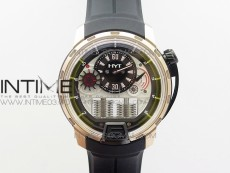 HTY RG/DLC CYF white dial black Crown On Black Rubber Strap Asian movement like to HTY Cal.101