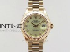 DateJust 28mm RG Diamond Bezel BP Best Edition White Rose gold Dial on RG Bracelet ETA2671