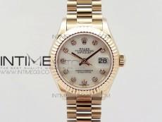 DateJust 28mm RG Diamond Bezel BP Best Edition White MOP Dial on RG Bracelet ETA2671
