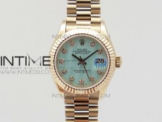 DateJust 28mm RG Diamond Bezel BP Best Edition Ice blue textured Dial on RG Bracelet ETA2671