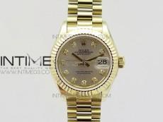 DateJust 28mm YG Diamond Bezel BP Best Edition White Silver Dial on YG Bracelet ETA2671